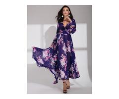 Floral Long Sleeve Maxi X-line Dress (1955153186)