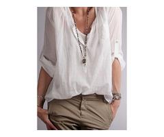 Solid Arabian Stand Collar Half Sleeve Blouses (1645249068)