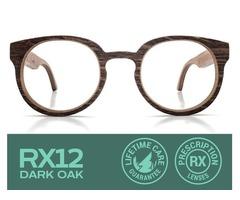 RX12 Dark Oak Eyeglasses with Prescription Lenses