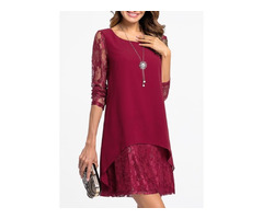 Solid Hollow Out Long Sleeve Above Knee A-line Dress (01955249897)