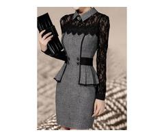 Lace Long Sleeve Above Knee X-line Dress (1955124756)