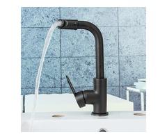 Kitchen Bathroom Basin Sink Faucet Bath Cold/Hot Mixer Water Tap  360° Rotation Black Matte