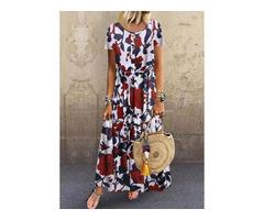 Casual Floral Round Neckline Maxi A-line Dress (1955419127)