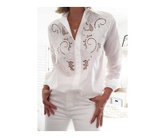 Solid Casual Collar Long Sleeve Blouses (1645435034)
