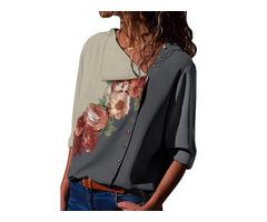 Floral Casual V-Neckline 3/4 Sleeves Blouses (1645525482)