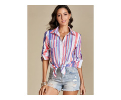 Stripe Casual Collar 3/4 Sleeves Blouses (1645417838)