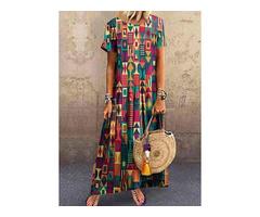Casual Color Block Tunic Round Neckline Shift Dress (1955536269)