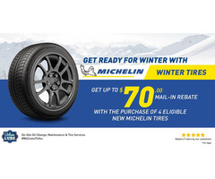 Get up to $70 Back by mail on Michelin Tire