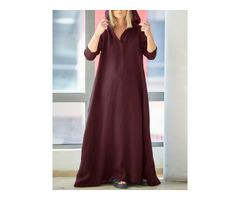 Women Vintage V-Neck Side Pockets Split Cotton Maxi Dress