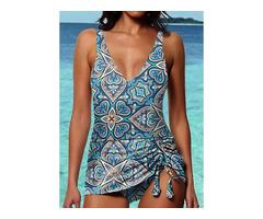 Polyester Pattern Tankinis Swimwear (30015543544)