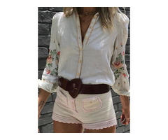Floral Casual Collar Long Sleeve Blouses (1645540170)