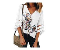 Floral Casual V-Neckline 3/4 Sleeves Blouses (1645547308)