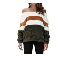 Off Shoulder Stripe Patchwork Fleece Pollover Sweatshirt