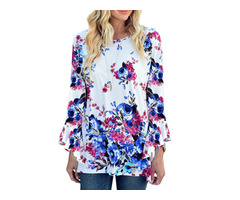 Women Bell Sleeve Floral O-neck Irregular T-shirt