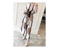 Color Block Wrap Half Sleeve Maxi X-line Dress (1955215685)