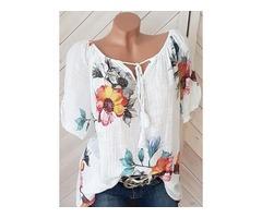 Floral V-Neckline Short Sleeve Blouses (1645317522)
