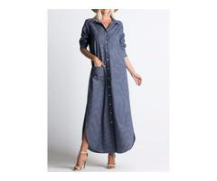 Lapel Button Long Sleeve Denim Shirt Dress