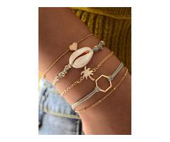 Casual Heart No Stone Link Bracelets (1865459002)