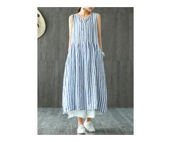 Women Sleeveless Striped V-neck Sundress Retro Maxi Dress