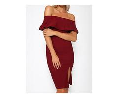 Women's Off Shoulder Ruffles Falbala Slim Fit Split Bodycon Dress