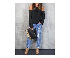 Fashion Women Off Shoulder Crisscross Halter Cutout Top