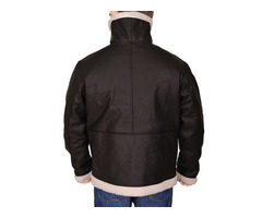 Happy Christmas|Rockey 4 Black Sheepskin Fur Bomber Leather Jacket
