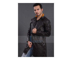 """Happy Christmas"" Pearce Aiden Watch Dogs Black Leather Coat"