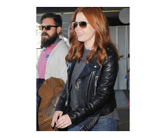 """Happy New Year""Amy Adams Black Leather Jacket"