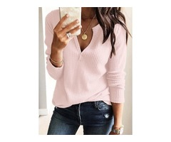 Solid Casual V-Neckline Long Sleeve Blouses (1645352355)