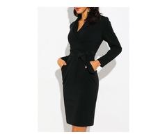 Solid Long Sleeve Knee-Length Sheath Dress (01955212898)