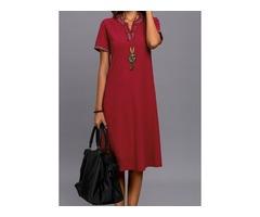 Solid Short Sleeve Midi Shift Dress (01955332835)