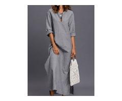 Stripe Pockets 3/4 Sleeves Maxi Shift Dress (01955332832)