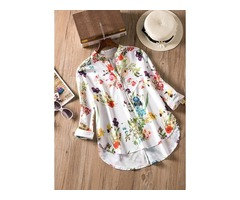 Floral Casual Stand Collar Long Sleeve Blouses (1645137593)