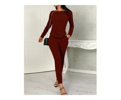 Long Sleeve Drawstring Knitted Top & Pants Set