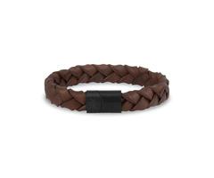 Flat Woven Italian Leather Steel Clasp Engravable Bracelet