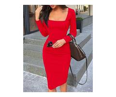 Square Neck Long Sleeve Bodycon Dress