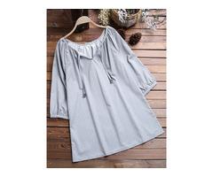 Plus Size Women Casual Printed Three Quarter Sleeve Blouse