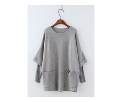 Round Neckline Solid Loose Pockets Shift Sweaters (1675204256)