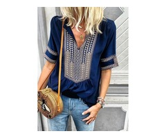 Color Block V-Neckline Short Sleeve Blouses (1645285907)
