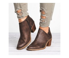 Zipper Ankle Boots Chunky Heel Shoes (1625335099)