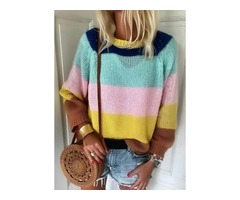 Color Block Casual Round Neckline Long Sleeve Blouses (1645330084)