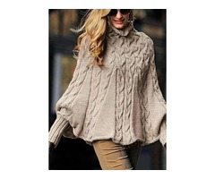 High Neckline Solid Bat Shirt A-line Sweaters (1675239516)