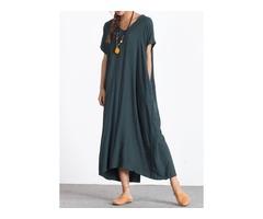 Solid Short Sleeve Maxi A-line Dress (1955130134)