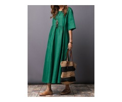 Solid Half Sleeve Maxi A-line Dress (01955346114)
