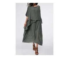 Solid Half Sleeve Maxi A-line Dress (1955139037)