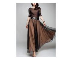 Color Block Long Sleeve Maxi A-line Dress (1955348773)