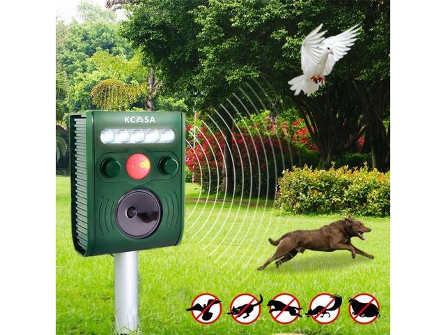 KCASA KC-JK369 Garden Ultrasonic PIR Sensor Solar Animal Dispeller Strong Flashlight Dog Repeller | free-classifieds-canada.com