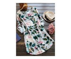 Floral Half Sleeve Above Knee Shift Dress (1955289163)