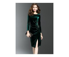 Solid Long Sleeve Knee-Length Bodycon Dress (1955192877)