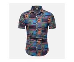 Mens Summer Colorful Plaid Printing Buttons Shirts